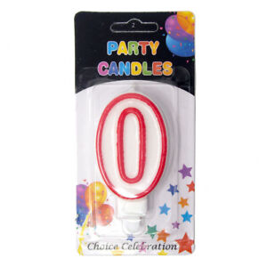 Number Birthday Candles, White/Red, 2-1/2-Inch