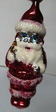 "5"" Tall - Vintage Glass Santa w Blue Eyes Christmas Ornament"