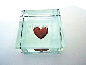always Red Heart Glass Block Ornament Valentine Gift 3cm² x17mm Spaceform London