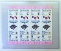 1992 World Series Ticket Unused Sheet + Atlanta Braves Toronto Blue Jays MLB
