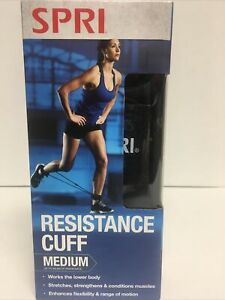 SPRI Resistance Cuff Leg/Ankle Band Medium (Black) w/Exercise Guide Home Workout