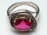 925 Silber Ring pink Turmalin & Diamanten besetzt RG 55/17,5 mm / A865