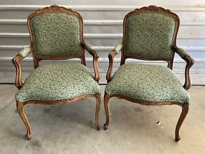 PRISTINE Ethan Allen Upholstered Duvall French Bergere Chairs, 13-7118, Set of 2