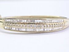 Fine Round & Baguette Diamond Multi Shape Diamond 3-Row Bangle 14Kt 2.00Ct