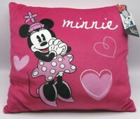 Disney MINNIE MOUSE Pillow NEW Pink Black hearts Valentine teen soft plush