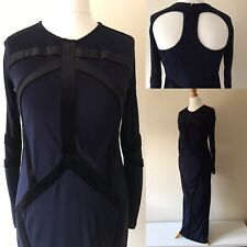 Topshop Meadham Kirchhoff Dress Long Maxi Navy Black Gothic Prom Ball Gown UK 14