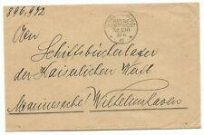 Brief KAIS. DEUTSCHE MARINE-SCHIFFSPOST N°190 1917 an Kaiserl. Werft WHV