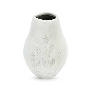 Gentle Breeze Flowers Matte Whitewashed Grey 8 x 6 Ceramic Stoneware Vase