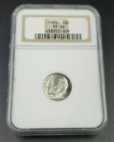 1955 P Roosevelt Silver Dime Coin NGC PF68 Gem Proof ANA Brown Label Holder