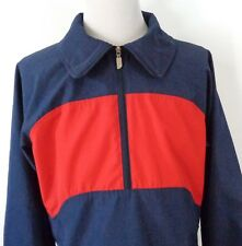 Vtg North Face Large Slimmer Fit 1/2 Zip Pullover Jacket Windbreaker Blue Red