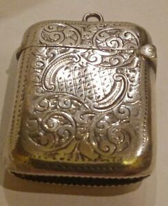 99p No Reserve Antique 1901 Birmingham engraved STERLING SILVER Vesta Case 19gm