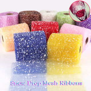 15m Long Snow Drop Mesh Flower Wrapping Ribbons Roll Florist Bouquet Decor Thin