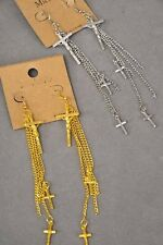 "5"" LONG DANGLY GOLD OR SILVER TONE MULTI-CHAIN CROSS WITH DROP CROSS EARRINGS"