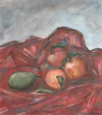 Vintage oil painting still life with fruits signed