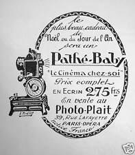 PUBLICITÉ 1922 PATHÉ-BABY LE CINÉMA CHEZ SOI EN ECRIN 275 FRS - ADVERTISING