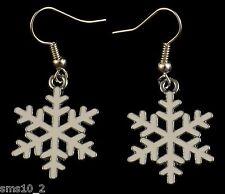 Hand Made White Enamel Christmas Snowflake Earrings HCE173