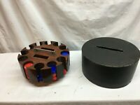 Vtg 1930-40's Spinning Lazy Susan Poker Chip Caddy Holder Lid Casino Card Game