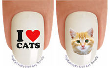Nail Decals #2056 ANIMAL I love Cats Tabby Waterslide Nail Art Transfers Sticker