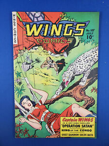 WINGS COMICS 107 F VF 1949 FICTION HOUSE