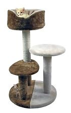 """30"""" 3-Tier Cat Tree House Condo With Cradle Perches Scratch Post and Bed"""