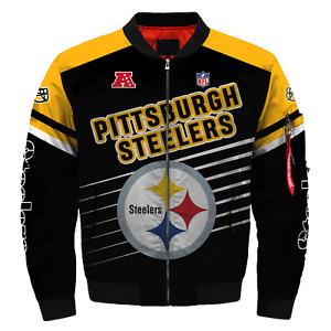 Pittsburgh Steelers 2020 Bomber Jacket Flight Thicken Coat Football Outwear