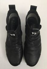 Y-3 Yohji Yamamoto Adidas Black Perforated Leather Ruched Cleat Sneaker Sz 8-8.5