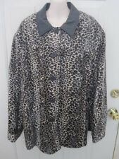 Dennis Basso Faux Fur Animal Print Jacket Coat w Leather Trim 3 X 3X EUC