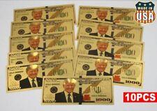 10PCS President Donald Trump Colorized $1000 Dollar Bill Gold Foil Banknote USA