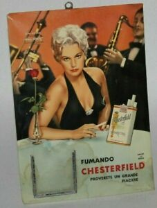 50-60s vintage sign Chesterfield Kim Novak advertising calendar bollo a tergo