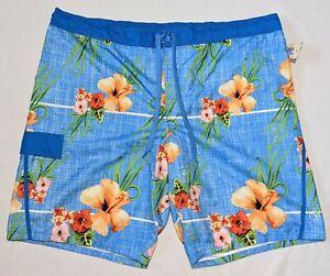 OP Blue Floral Tropical Print Swimsuit Swim Trunks Board Shorts Men's 3XL 48  50