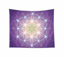 Purple Sacred Geometry Tapestry spiritual wall hanging flower of life tapestries
