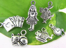 6 ALICE IN WONDERLAND Theme Tibetan Silver Tone Charm Set Collection US SELLER