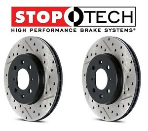 For Cadillac Chevy GMC Hummer Set of Front StopTech Drilled Slotted Brake Rotors