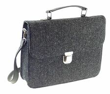 Gents Briefcase Authentic Harris Tweed White Fleck On Black LB1016 COL 41