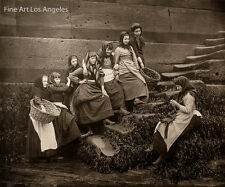 """Frank Meadows Sutcliffe Photo """"Young Women on Seawall Steps"""" 1890s"""
