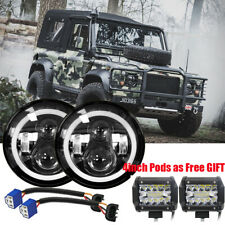 2x UK 7 Inch E9 Hi/Lo LED Headlight /w 4inch Pods LED for LAND ROVER DEFENDER