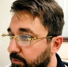 Men's Elegant Sophisticated Square Gold Rimless Frame Clear Lens Eye Glasses NEW