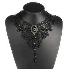 Retro Women's Victorian Time Steampunk Black Lace Beads Collar Necklace Jewlery