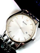 SOLD OUT BULOVA STAINLESS STEEL PATTERNED WHITE FACE #96B145 WATCH RETAIL $800+