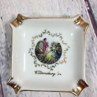 Vintage Porcelain Ashtray Victorian People Design Williamsburg Virginia Souvenir