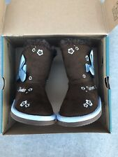 Skechers Australia Blue Bow Floral Tan Brown Girl's Calf Length Boots Size 7
