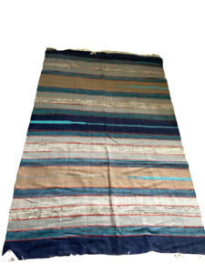 Handwoven Cotton Stripe Dhurrie Rug India 120 x 180cm  4ft x 6ft  Blue Shades