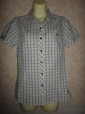 HAWKSHEAD PURPLE WHITE & LINE CHECKED SEMI FITTED COTTON SHIRT SIZE 10