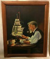 Ann Collins Original Oil on Canvas Painting Portrait of Man W. Sailboat Fine Art