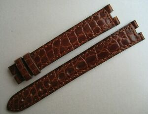 GENUINE Les Must de CARTIER WATCH STRAP BAND BROWN ALLIGATOR LEATHER 16/14mm
