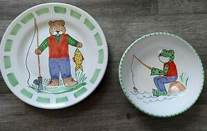Present Tense Kelly B Rightsell Childs Plate Bowl Set Fishing Kids Bear Frog