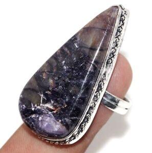 Purple Fluorite 925 Silver Plated Handmade Gemstone Ring us 8.5 Unique Gift GW