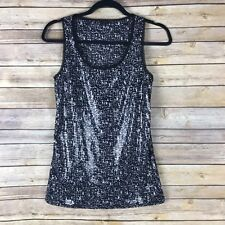 Ann Taylor Womens Tank Top Sequin Front Semi Fitted Scoop Neck Chiffon Trim S