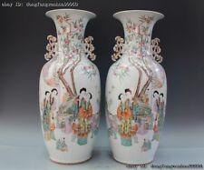 Chinese Folk Rose Wucai Porcelain Tongzi Boy Woman Lady Bottle Pot Jar Vase Pair
