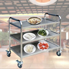3 Tier Stainless Steel Trolley Cart Hotel Restaurant Serving Catering Train Cafe